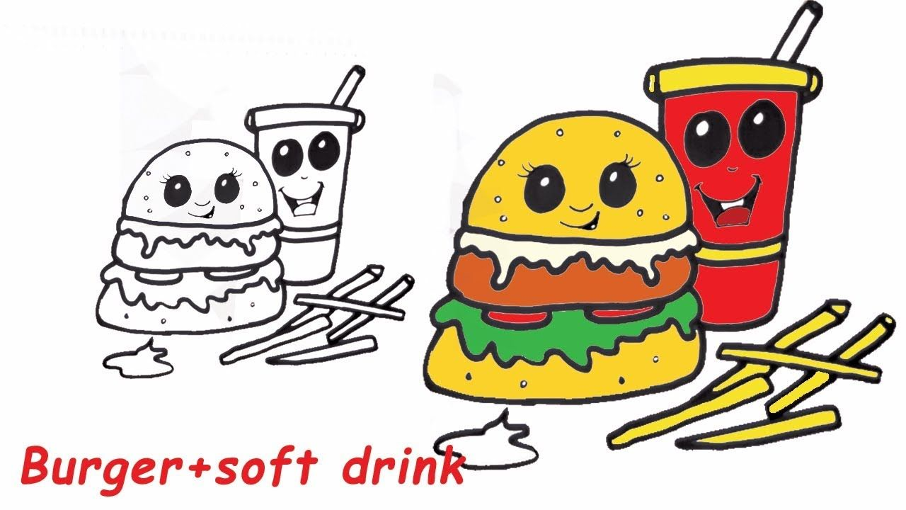 How To Draw C Cute Burger And Soft Drink French Fries Step By Step