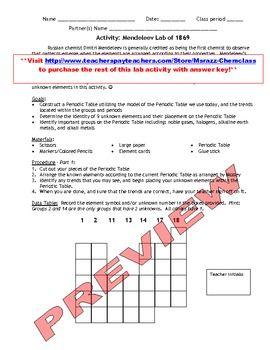 Activity mendeleevs periodic table of 1869 teacher pay teachers activity mendeleevs periodic table of 1869 urtaz Gallery