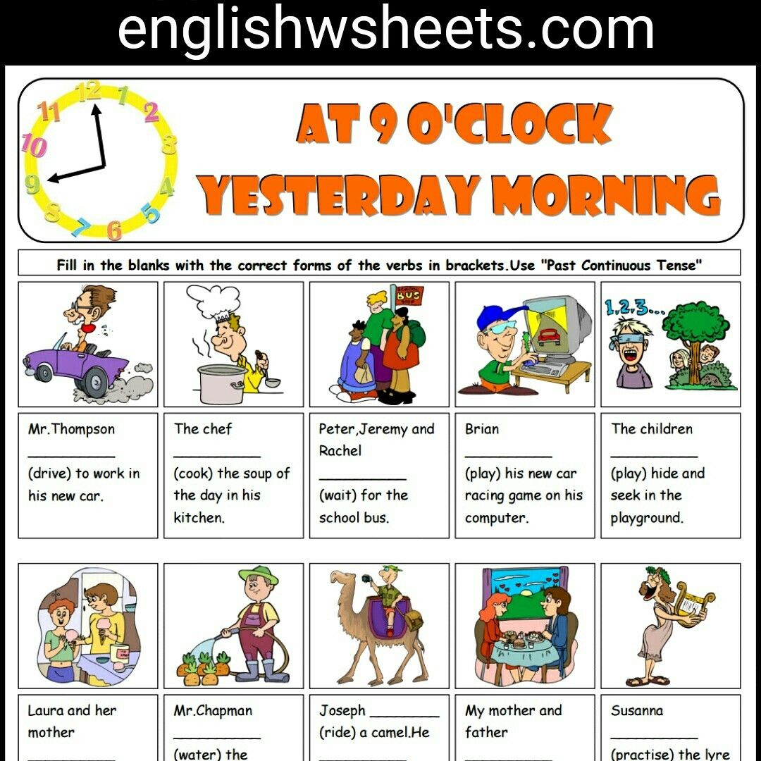 Past Continuous Tense Esl Printable Grammar Exercise