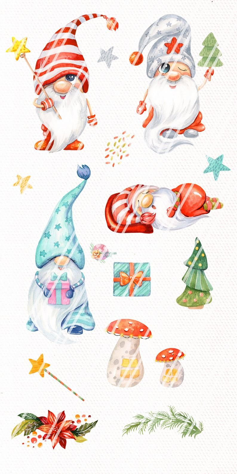 Christmas Gnomes Watercolor Clipart Nordic Scandinavian Etsy In 2020 Christmas Gnome Christmas Watercolor Holiday Painting