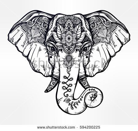 vintage style vector elephant with ethnic lotus ornaments ideal ethnic background tattoo art. Black Bedroom Furniture Sets. Home Design Ideas