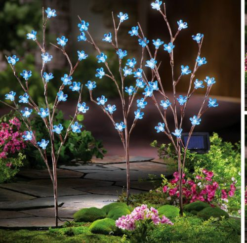 Details About New Blue Flower Branch Solar Lawn Garden Path Solar