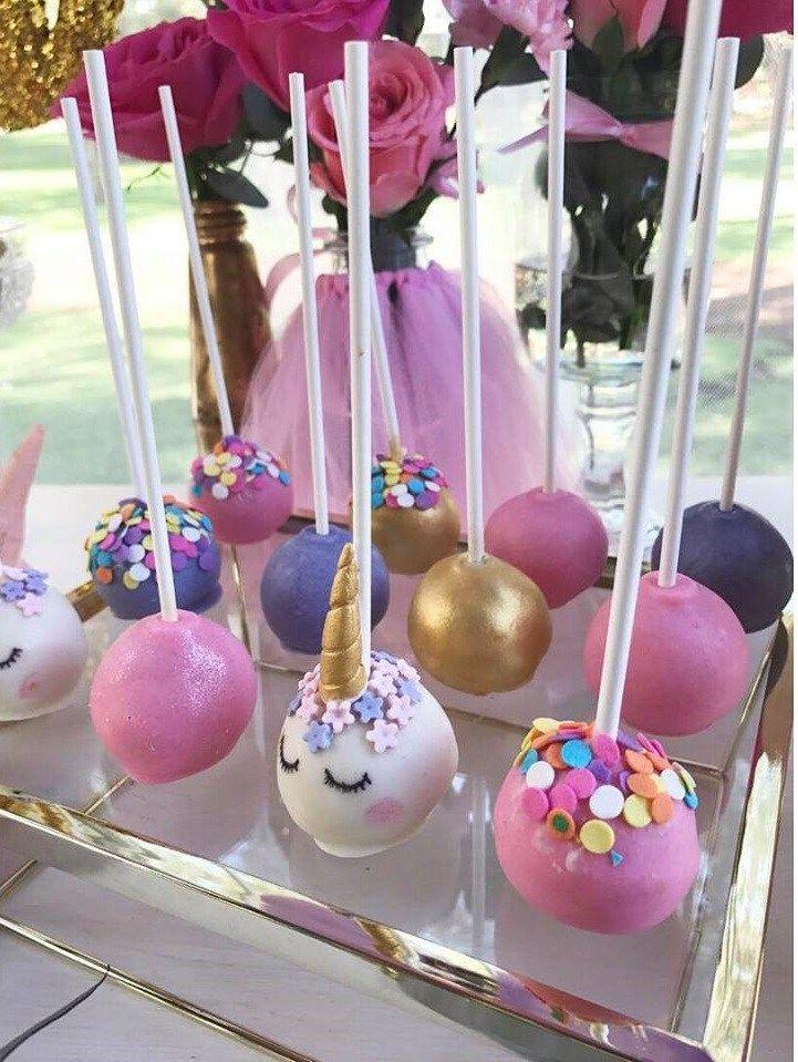 First Unicorn Birthday Party Cakepops