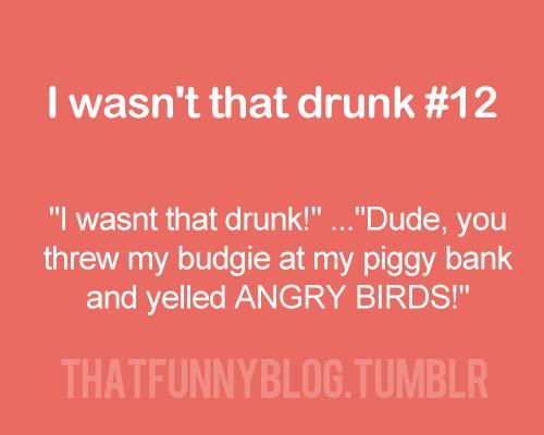 I wasn't that drunk..