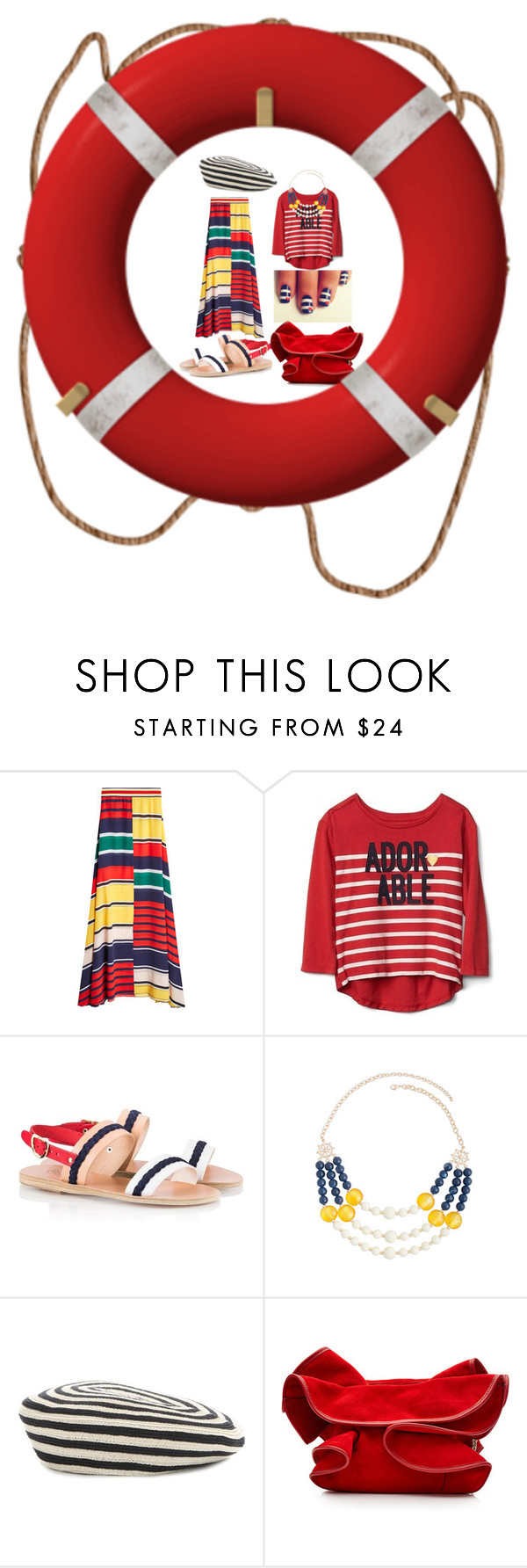 """Little marine"" by subvilli ❤ liked on Polyvore featuring Ancient Greek Sandals, Mixit, Gucci, Nina Ricci and stripes"