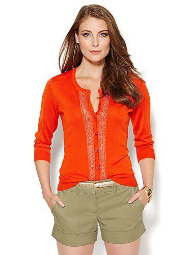 Chelsea Lurex Pointelle-Knit Cardigan - New York & Company
