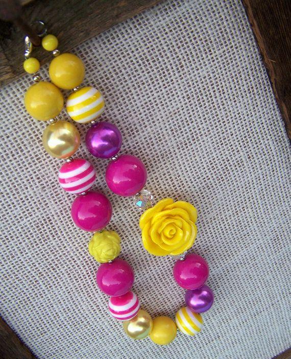 BELLE - Bubblegum Beaded Necklace - Little Girl Necklace - Easter - Chunky Necklace - Belle Disney Princess - Tickle Me Pink. $22.00, via Etsy.