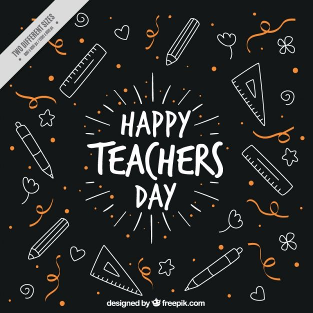 Download Cute Vintage Background With Drawings Of Teacher S Day