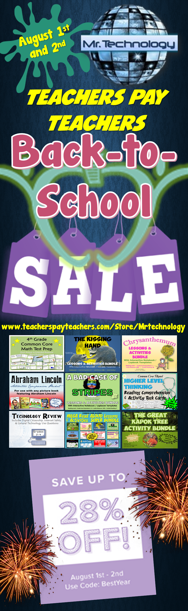 Save 28% on EVERYTHING in the #MrTechnology #TeachersPayTeachers Store! August 1st and 2nd!