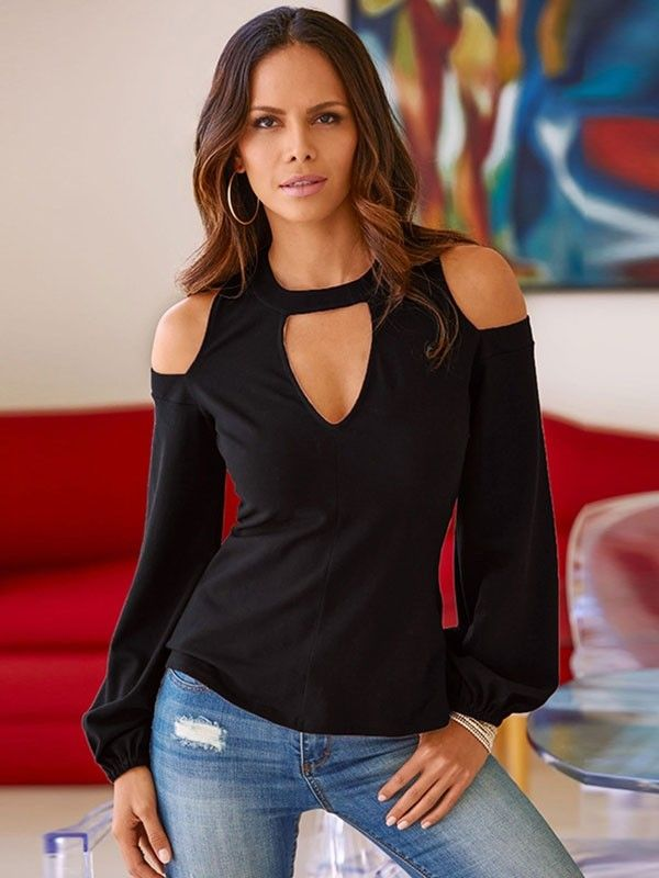Women Solid Color Hollow Out Cold Shoulder Blouse Tops