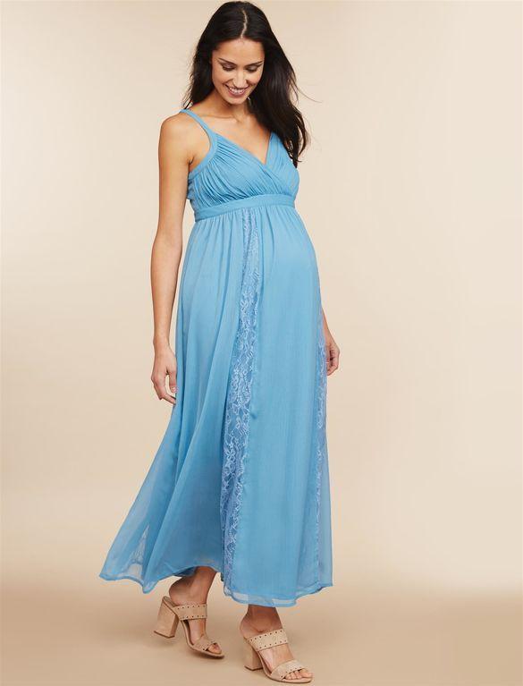 Motherhood Lace Trim Maternity Maxi Dress blue maternity dress ...