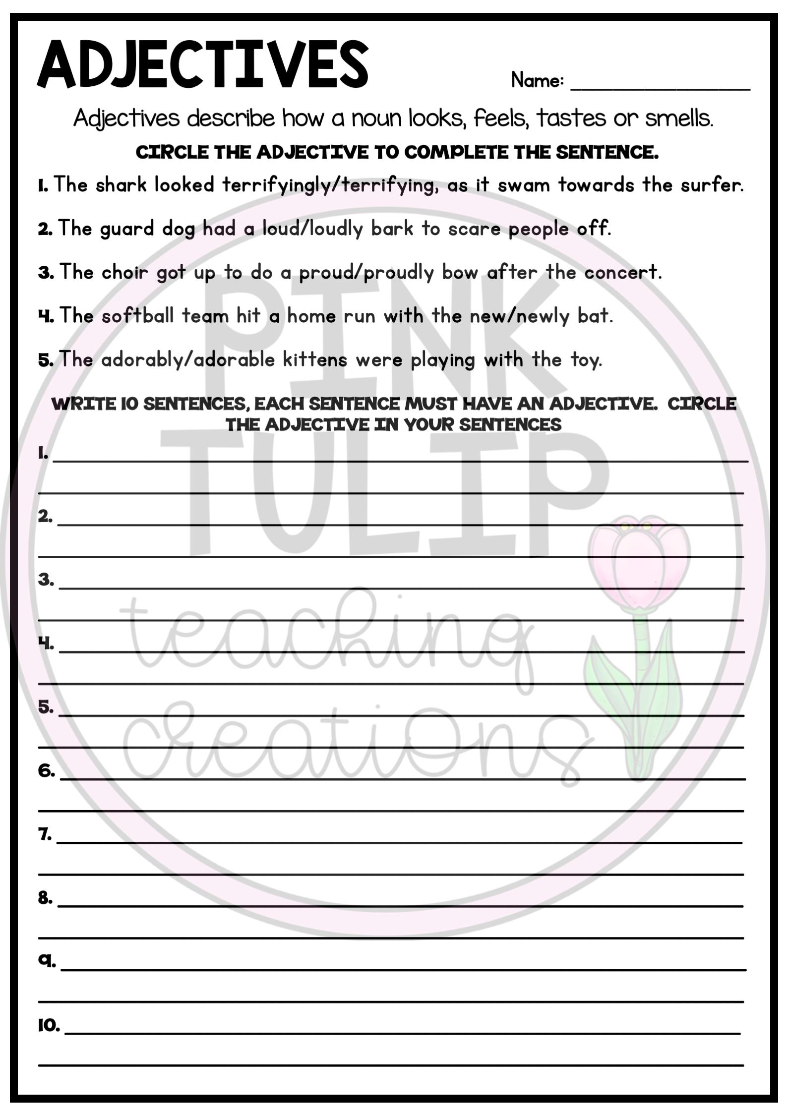 Understanding Adjectives Worksheets No Prep Printables Parts Of Speech Part Of Speech Grammar Grammar Workbook [ 2249 x 1589 Pixel ]