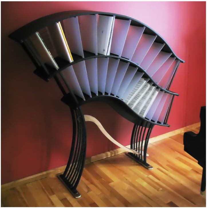 "Sheet music shelves to accompany a baby grand piano. 48""x12""x42"" (122x30x107cm) © 2011 Rod Muir"