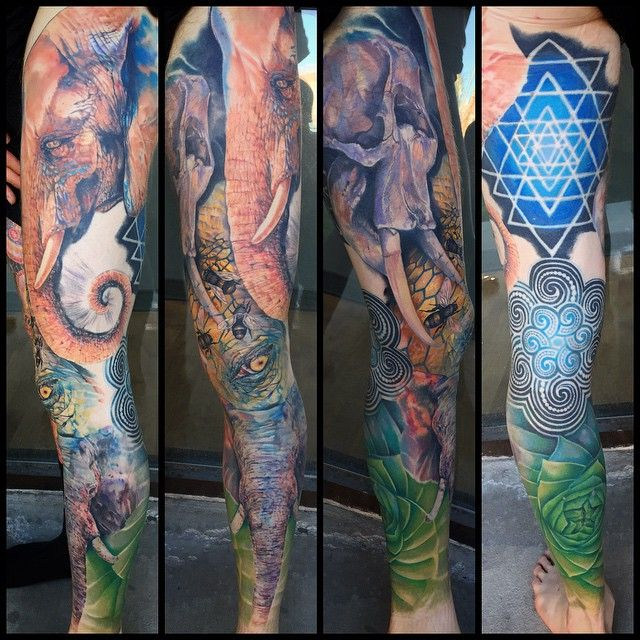 Full Leg Perfect World Order Tattoo Sleeve tattoos