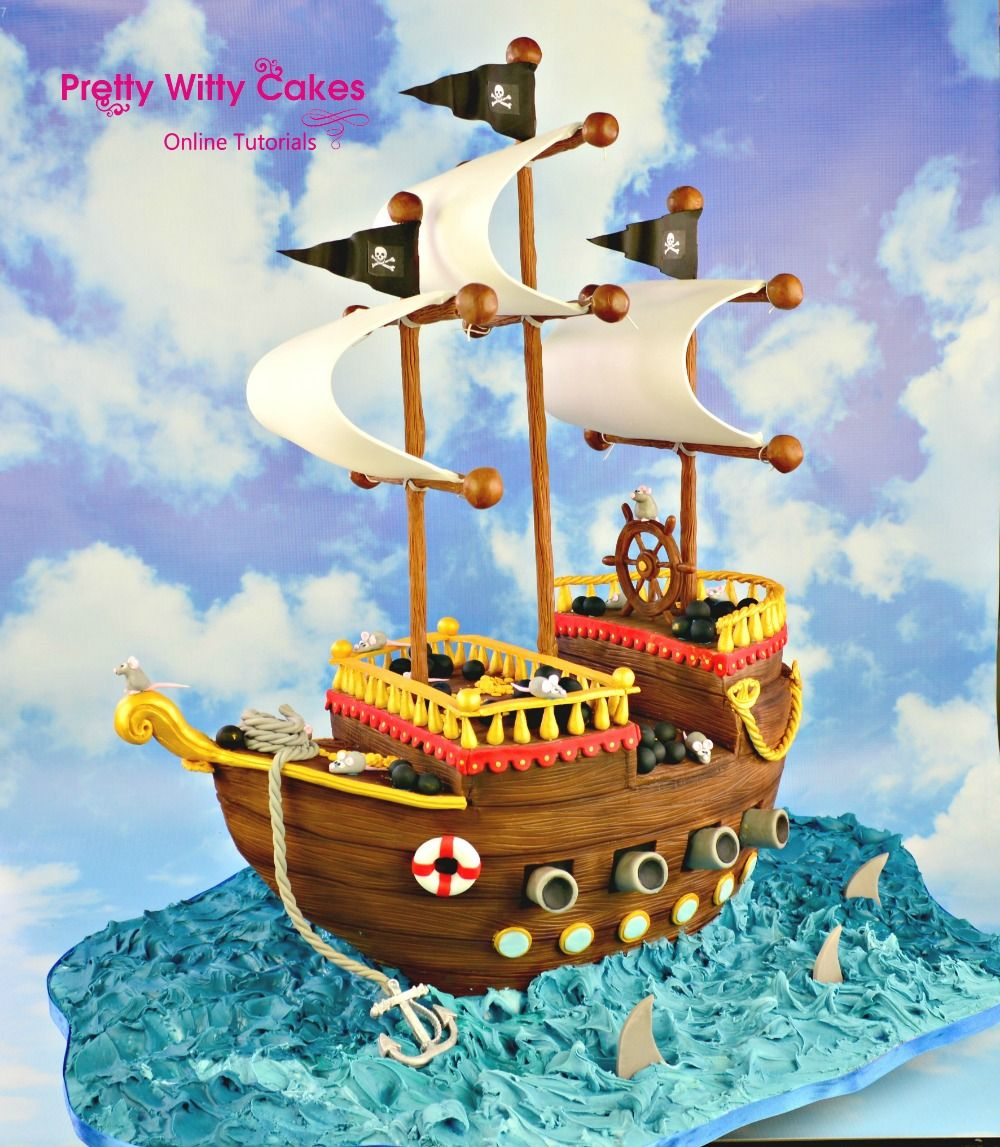 Love this Pirate Ship cake tutorial on Pretty Witty Cakes very
