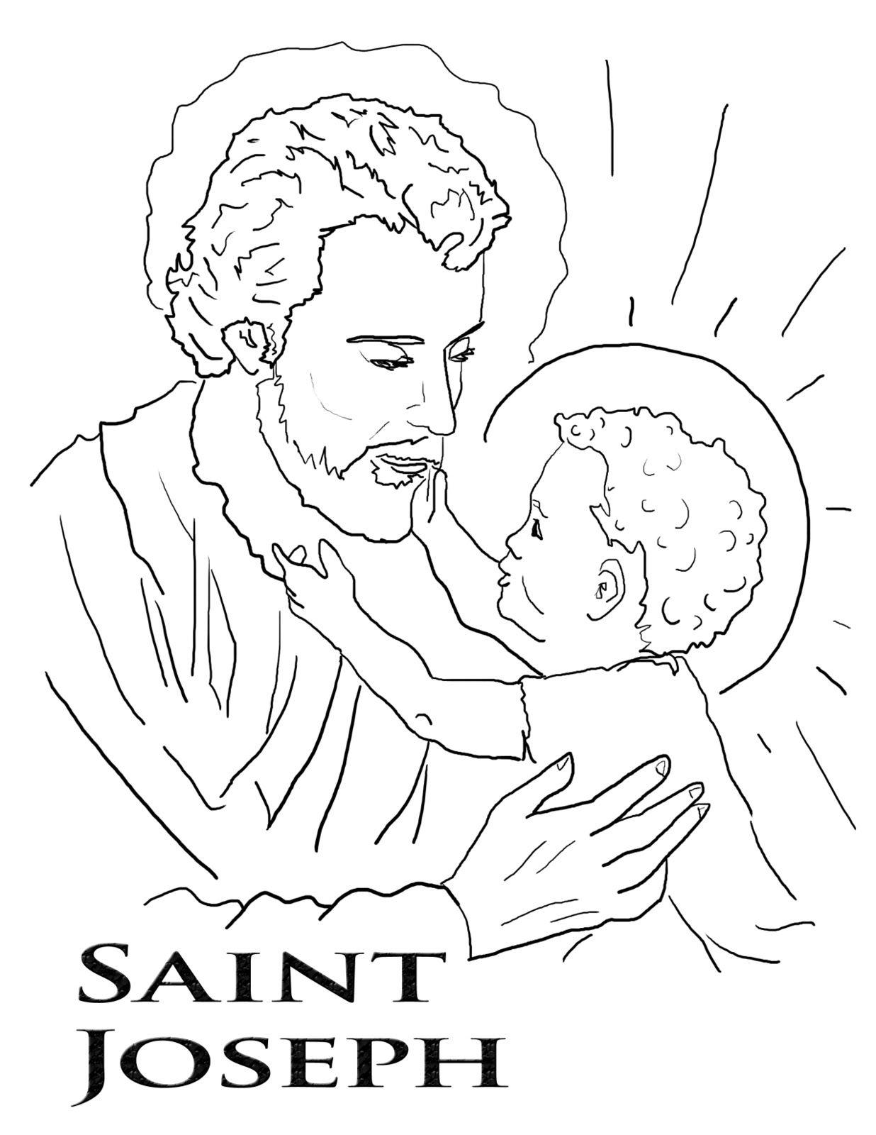 St Joseph Coloring Pg2 Tif 1236 1600 Catholic Coloring Coloring Pages Saint Coloring