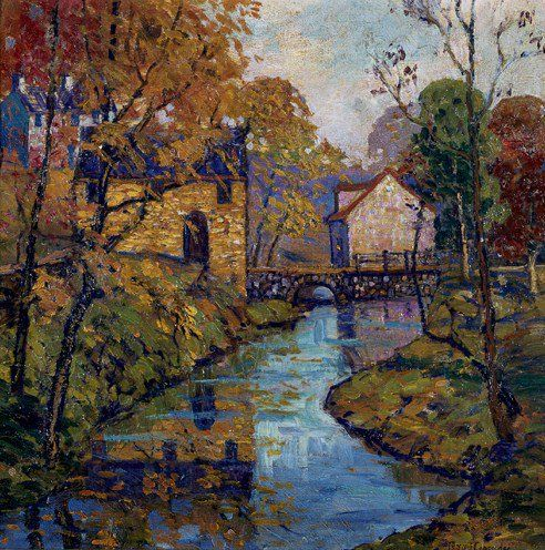 "Art Pics Channel on Twitter: ""Houses Along A Stream, Early Autumn -  Fern Isabel Coppedge https://t.co/Ngwef9dGlS"""