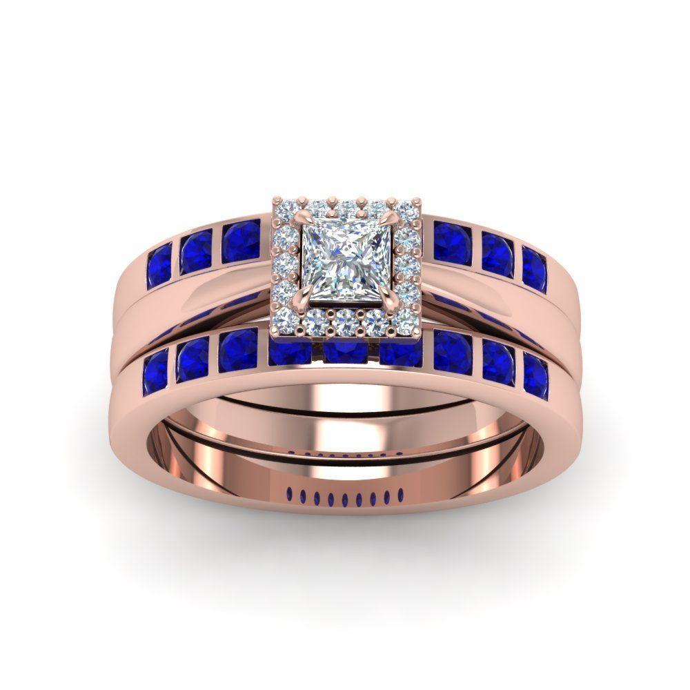 Princess Cut diamond Square Halo Bridal Trio Wedding Ring Sets For Women with Blue Sapphire in 18K Rose Gold exclusively styled by Fascinating Diamonds