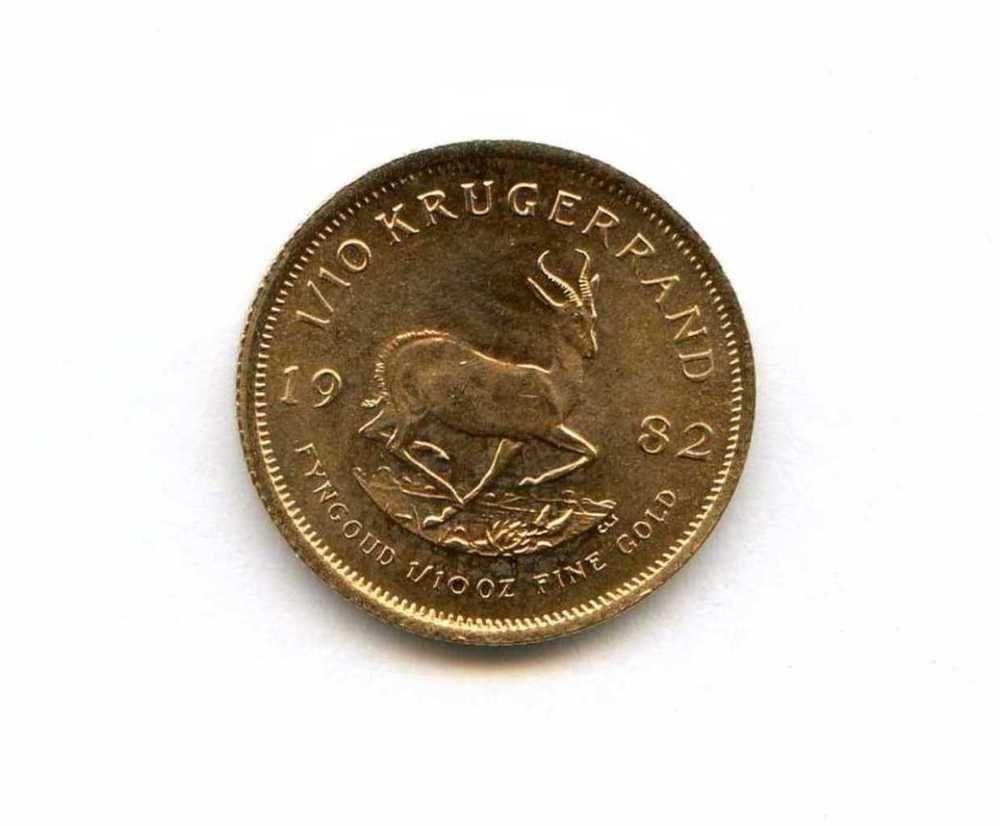 1982 1 10 Ounce Fine Gold Krugerrand South Africa Coin African Ungraded Gold Krugerrand Coins Vintage Friends