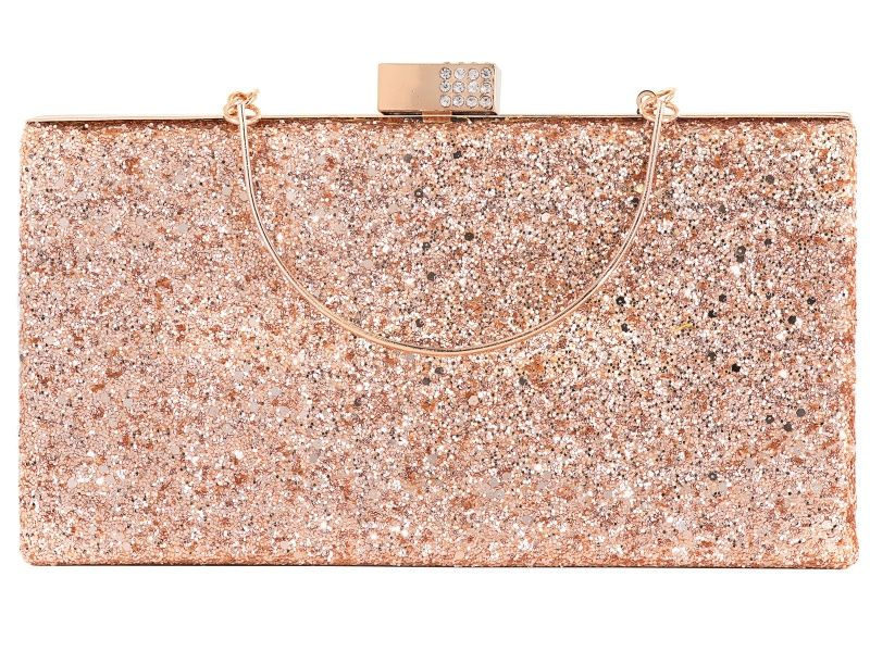 White Crystal Rose Tone Glitter Clutch OPC494 Crystal