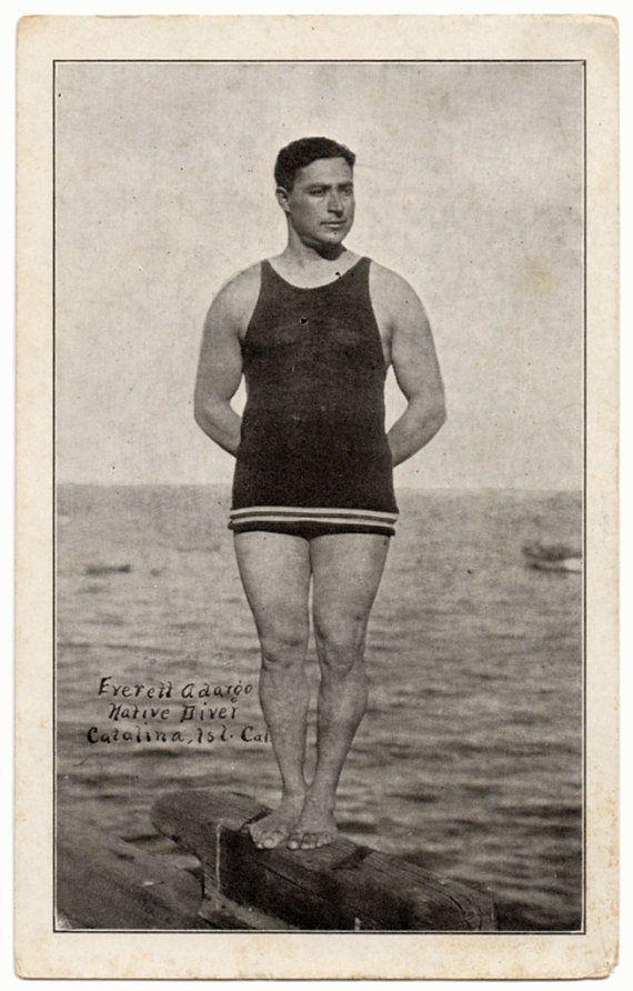 a42bcad226 vintage bathing suits for men | 1920s Vintage Postcard Everett Ardargo -  Men's Vintage Bathing Suit