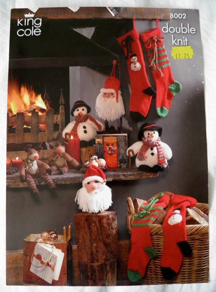 KNITTING PATTERN Christmas Santa Head Snowman Rudolph Stockings DK KingCole 8002