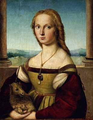 1505-6 Some attribute this painting to Raphael Raffaello Sanzio da Urbino (1483–1520), Portrait of a Lady with a Unicorn