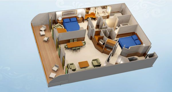 Concierge 2 Bedroom Suite With Verandah Category S Sleeps 7 Size 945 Sq Ft Including Verandah Room 2 Be Cruise Rooms Disney Cruise Rooms Bedroom Suite