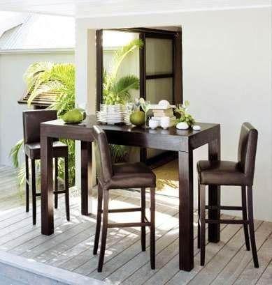 Mesa alta madera comedor con sillas mesa pinterest for Sillas para desayunador