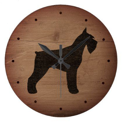 Giant Schnauzer Silhouette Rustic Style Large Clock Zazzle Com Large Clock Rustic Style Clock