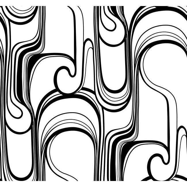 York RB4242 Black & White Book Curves Ahead Wallpaper