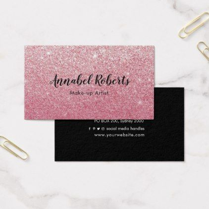 Luxe pink glitter business card colourmoves