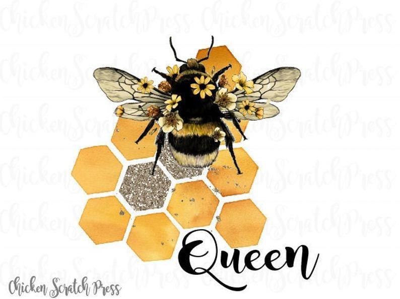 Queen Bee Bee Art Digital Downloadfile For Sublimation Etsy Bee Art Queen Bees Art Bee Drawing