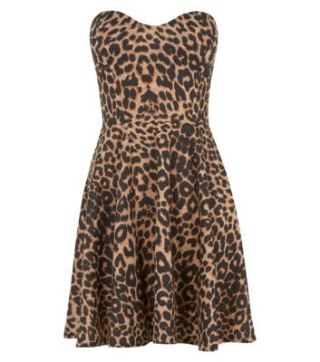 Parisian Brown Leopard Print Strapless Skater Dress