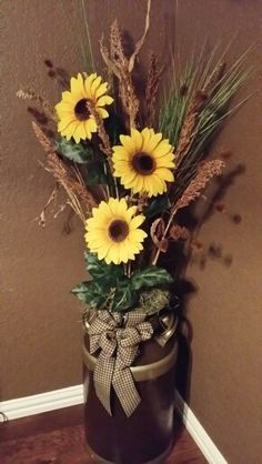 Cute For Fall Decor Big Rustic Vase With Wheat And Sunflowers