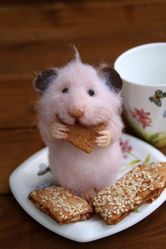 Needle felt realistic hamster with cookie, felted mouse ...