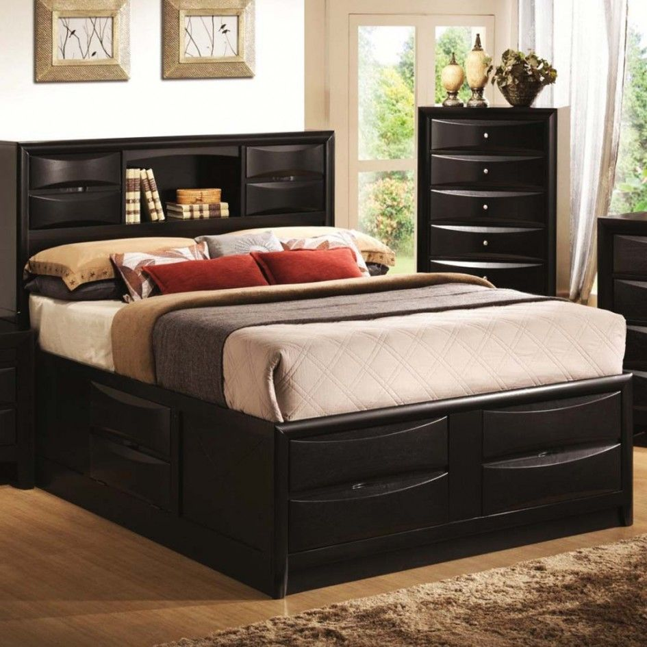 bedroom wooden double bed with storage design with