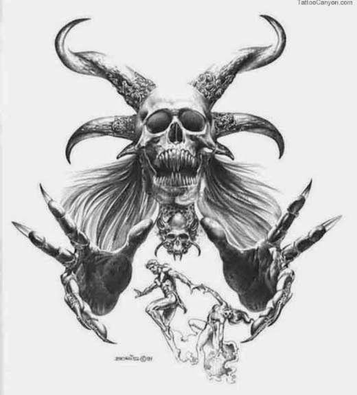 Belagoria La Web De Los Tatuajes Dibujos De Diseno De Tatuajes Bosquejo Del Craneo Demon Art