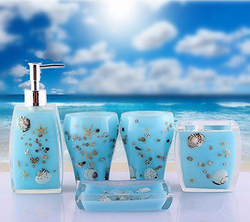 Yournelo Dreamlike Ocean Bathroom Accessories Sets Of 5 Pcs Ocean Bathroom Walk In Shower Designs Bathroom Accessories Sets