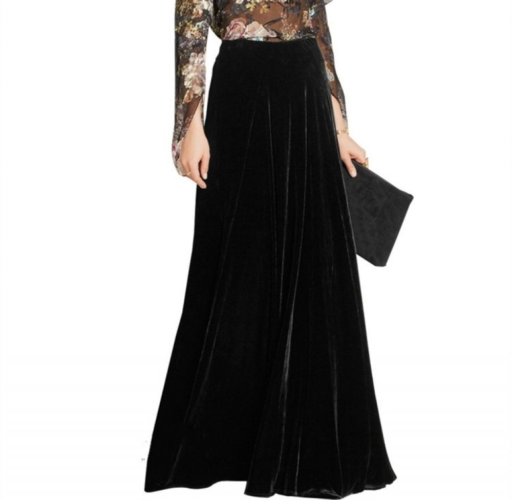 New Velvet Long Skirts Women Pleated Skirt Vintage Party Skirt 6xl Plus Size Women Maxi Skirt Price 10799  FREE Shipping