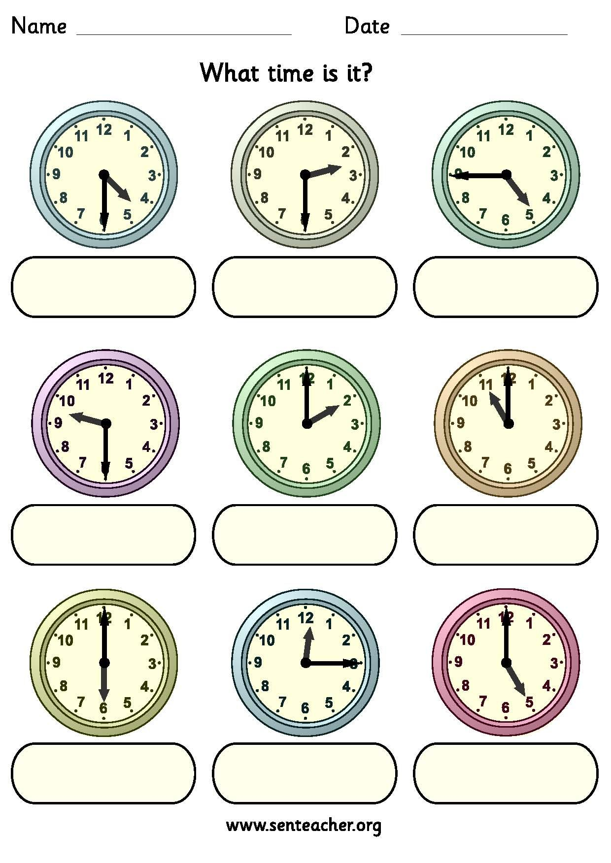 Worksheet Containing 9ogue Clocks Showing O Clock Half Past Quarter To And Quarter Past