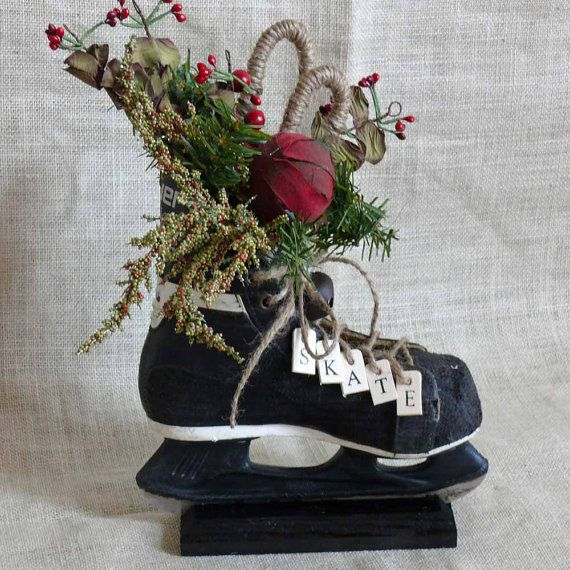 Hockey Skate Floral Arrangement Centerpiece by