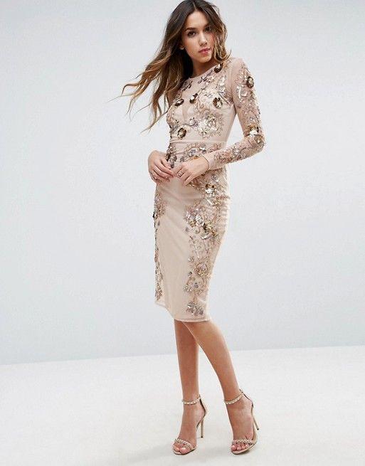 Brands houston asos edition embellished ergonomic bodycon midi dress long sleeved london