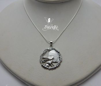 Silver Moon Gazing Hare Necklace | mythical | Wiccan shops, Pagan