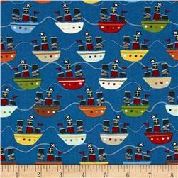 Riley Blake Treasure Map Boats Navy