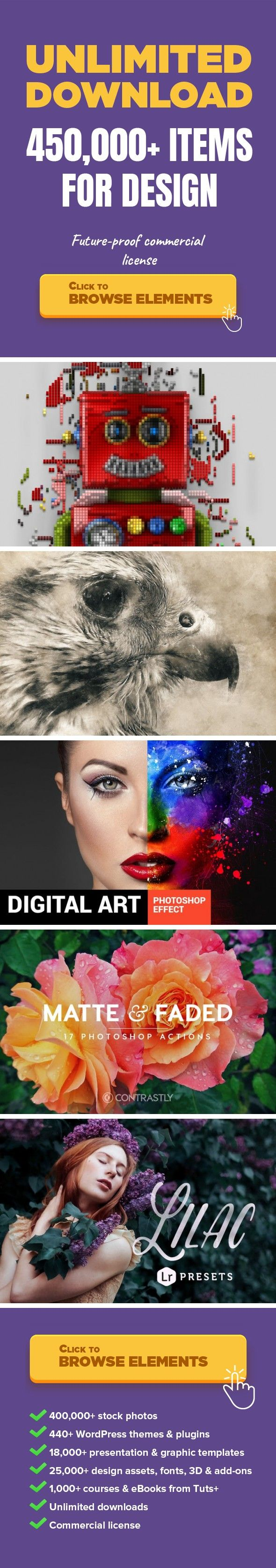 Pixelator Photoshop Action Add-ons, Actions and Presets
