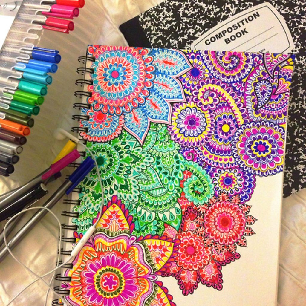 Paint the cover of a composition book and then paint a design on it ...
