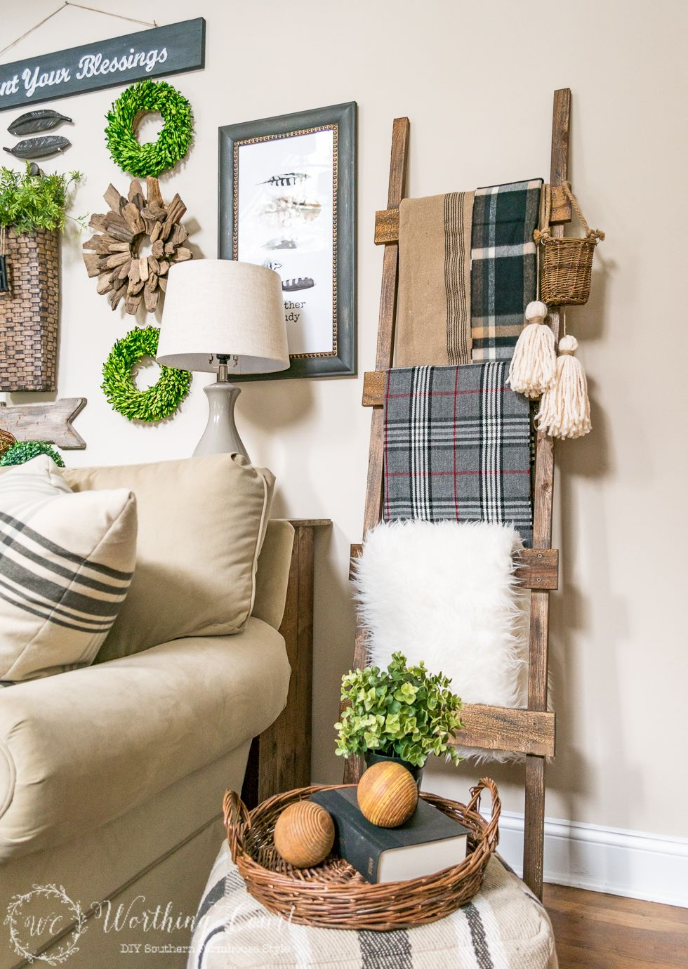 Farmhouse DIY Home Decor Ideas Rustic ladder Worthing and