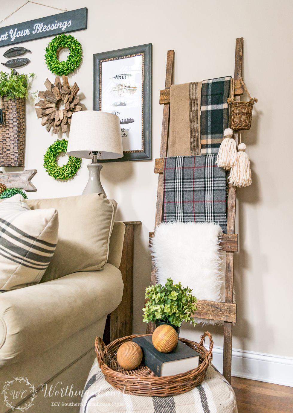Farmhouse DIY Home Decor Ideas | Rustic ladder, Worthing and ...