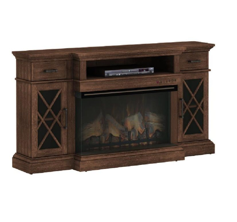 70 Hamilton Praire Brown Tv Stand Infrared Electric Fireplace